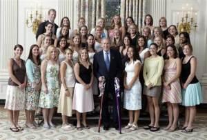Flip Flop della Squadra femminile di lacrosse in visita alla Casa Bianca