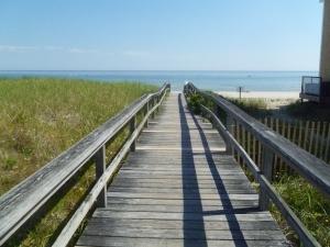 Pontile sulla spiaggia di Manomet, Cape Cod